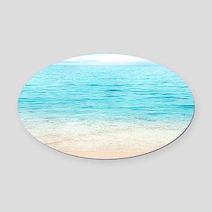 Beautiful Beach Oval Car Magnet