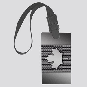 Canadian Flag Brushed Metal Cana Large Luggage Tag