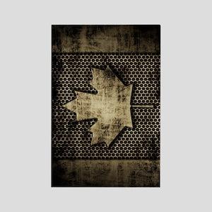 Canadian Flag Grunge Metal Rectangle Magnet