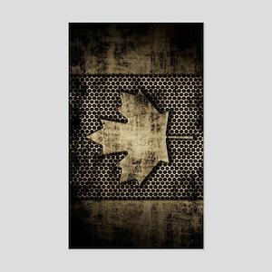 Canadian Flag Grunge Metal Sticker (Rectangle)