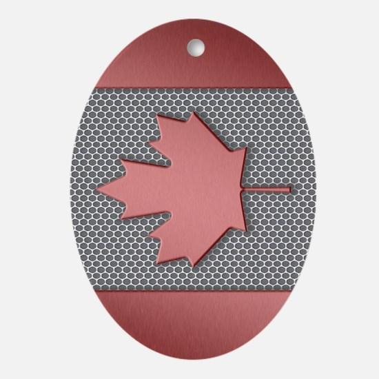 Canadian Flag Brushed Metal Oval Ornament