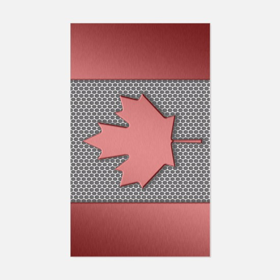 Canadian Flag Brushed Metal Sticker (Rectangle)