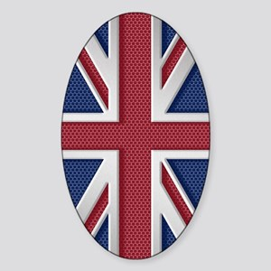 Union Jack Brushed Metal Flag Sticker (Oval)
