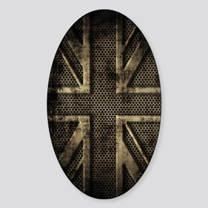 Union Jack Brushed Metal Grunge Sticker (Oval)