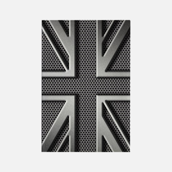 Union Jack Brushed Metal Rectangle Magnet