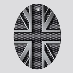 Union Jack Brushed Metal Oval Ornament