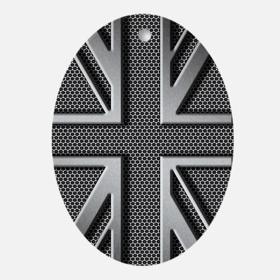 Union Jack Brushed Metal Oval Ornament