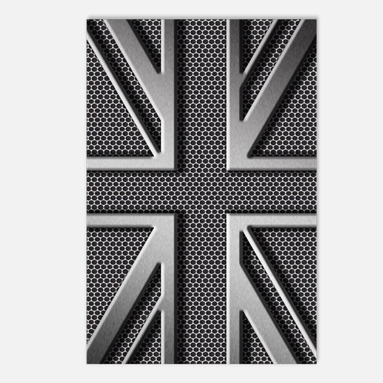 Union Jack Brushed Metal Postcards (Package of 8)