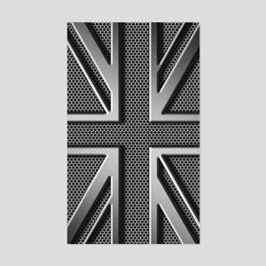 Union Jack Brushed Metal Sticker (Rectangle)
