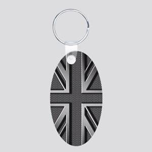 Union Jack Brushed Metal Aluminum Oval Keychain