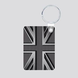 Union Jack Brushed Metal Aluminum Photo Keychain