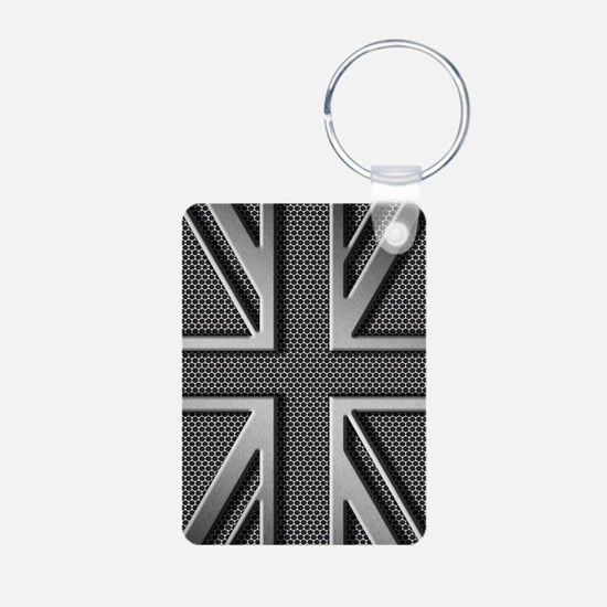 Union Jack Brushed Metal Keychains