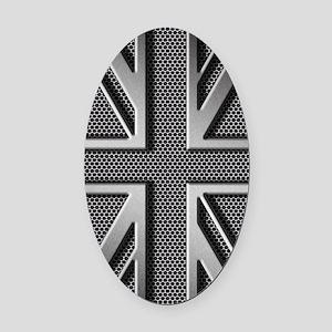 Union Jack Brushed Metal Oval Car Magnet