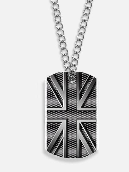Union Jack Brushed Metal Dog Tags