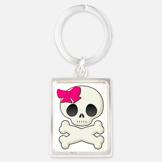 Girly skull Portrait Keychain