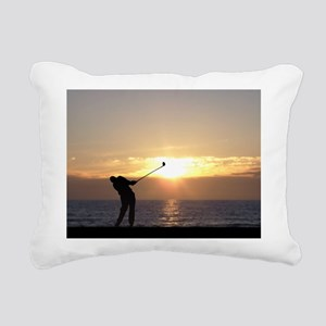 Playing Golf At Sunset Rectangular Canvas Pillow