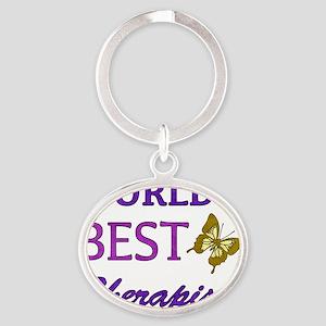 Worlds Best Therapist (Butterfly) Oval Keychain