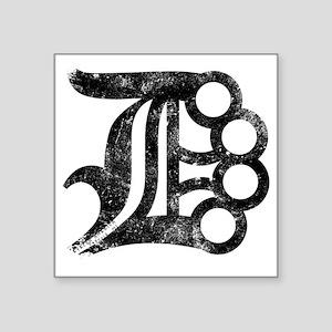 "Detroit D Brass Knuckles Square Sticker 3"" x 3"""