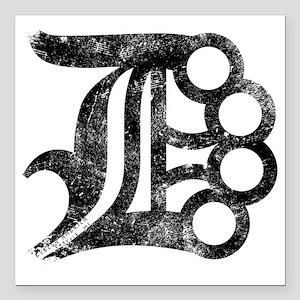 """Detroit D Brass Knuckles Square Car Magnet 3"""" x 3"""""""