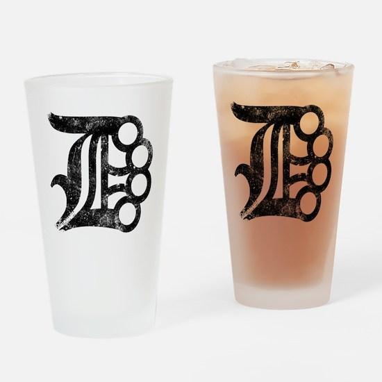 Detroit D Brass Knuckles Drinking Glass