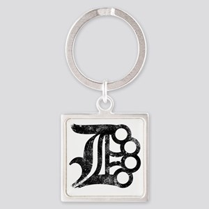 Detroit D Brass Knuckles Square Keychain