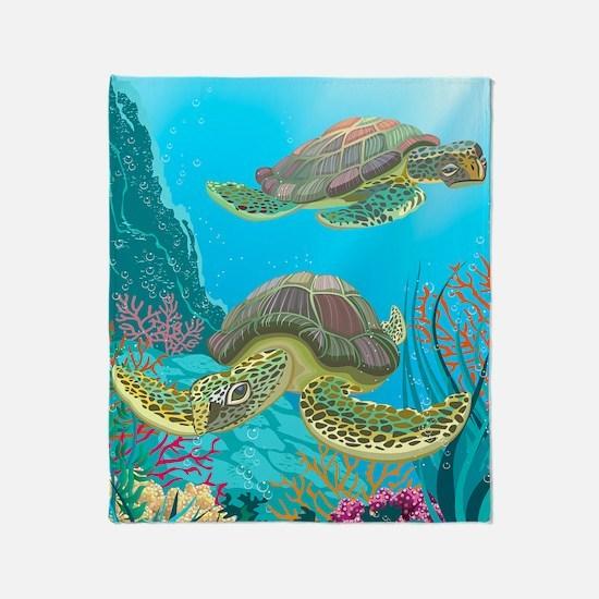 Cute Sea Turtles Throw Blanket
