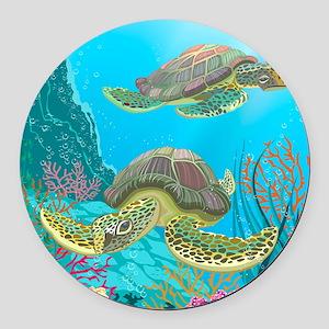 Cute Sea Turtles Round Car Magnet