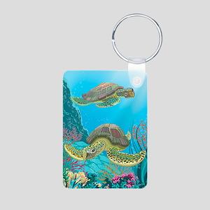 Cute Sea Turtles Aluminum Photo Keychain