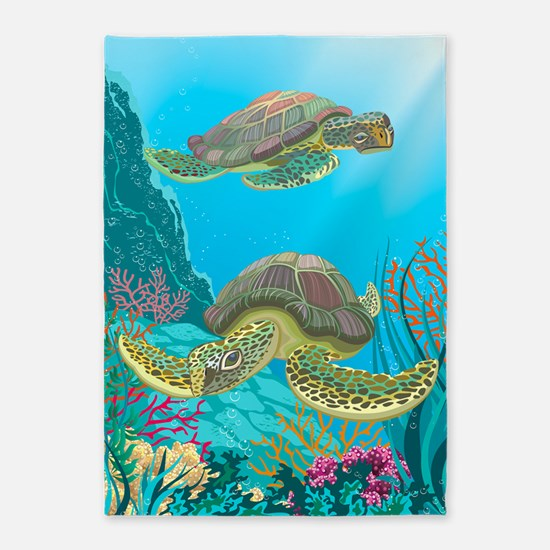 Cute Sea Turtles 5'x7'Area Rug