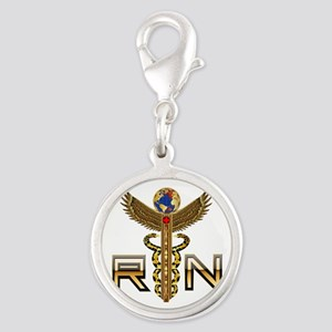 Medical RN 2 Silver Round Charm