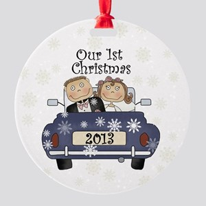 Just Married 1st Christmas 2013 Round Ornament