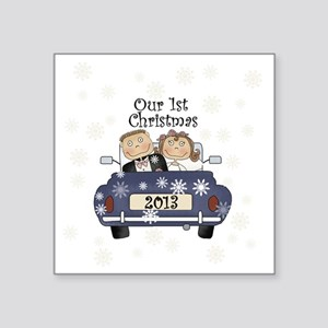 "Just Married 1st Christmas  Square Sticker 3"" x 3"""