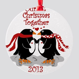 Penguins 1st Christmas Together Round Ornament
