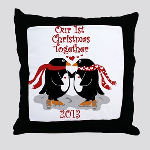 Penguins 1st Christmas Together Throw Pillow