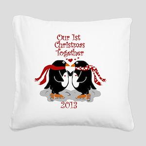 Penguins 1st Christmas Togeth Square Canvas Pillow