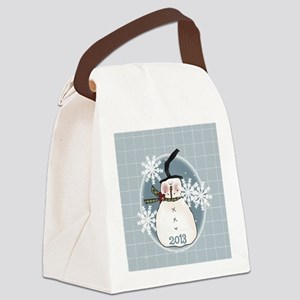 Stovepipe Hat Snowman 2013 Canvas Lunch Bag