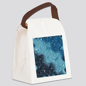 Abstract Glitter Blue Starry Nite Canvas Lunch Bag