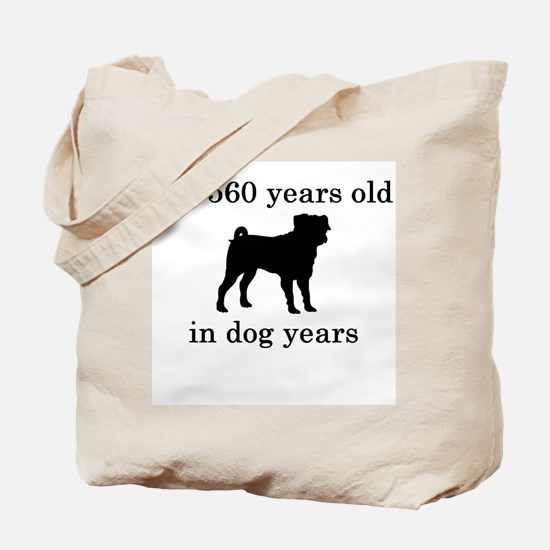 80 birthday dog years pug Tote Bag