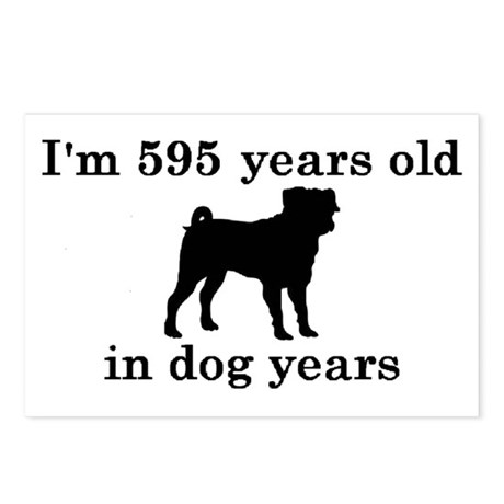 85 birthday dog years pug 2 Postcards (Package of