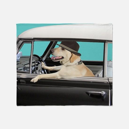 Yellow Labrador Driving Classic Car Throw Blanket