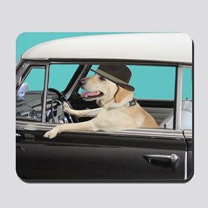 Yellow Labrador Driving Classic Car Mousepad