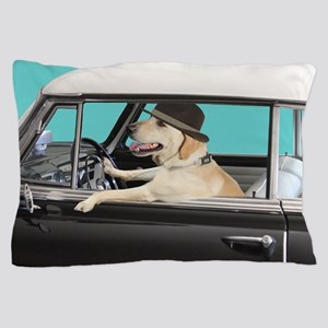 Yellow Labrador Driving Classic Car Pillow Case