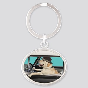 Yellow Labrador Driving Classic Car Oval Keychain