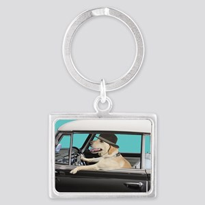 Yellow Labrador Driving Classic Landscape Keychain
