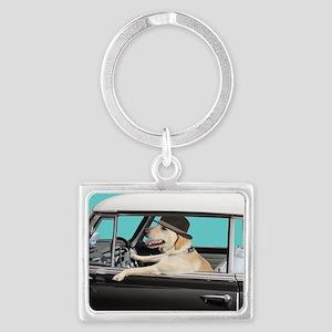 Yellow Labrador Driving Classic Landscape Keychain