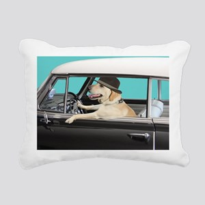 Yellow Labrador Driving  Rectangular Canvas Pillow