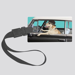 Yellow Labrador Driving Classic  Large Luggage Tag