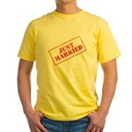 Just Married Stamp Yellow T-Shirt