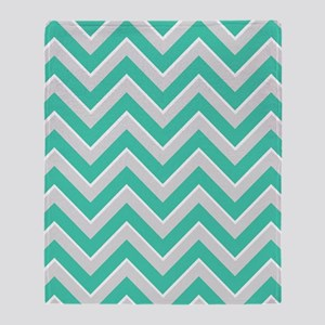 Turquoise Green and Silver Chevrons Throw Blanket