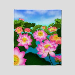 Pink Lotus Garden Flowers Throw Blanket